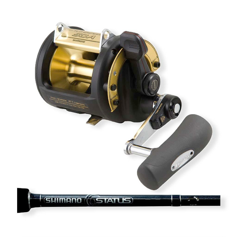 """Shimano TLD50 2 Speed Reel & Status Bluewater Bent Butt 5'6"""" Rod Combo"""