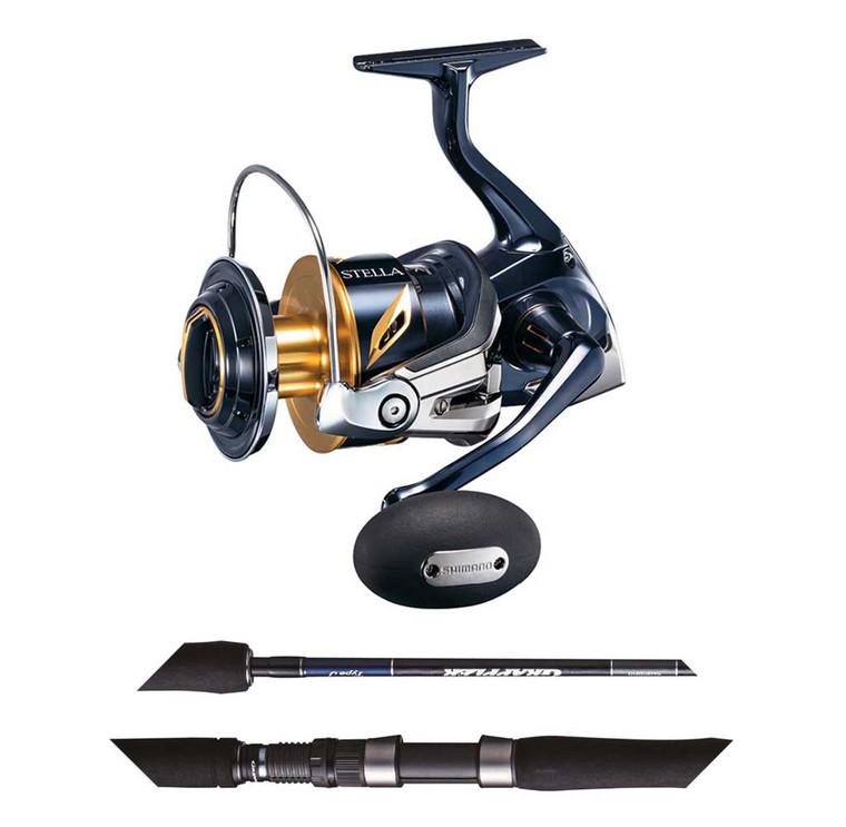 "Shimano Stella 14000SW−XGC & Grappler 8'2"" Topwater 2pc PE6 120gm Spin Combo"