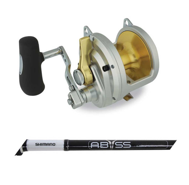 """Shimano Talica TAC50II Two Speed Reel + Abyss SW Game STD/UP 5'6"""" 60-100lb B/Butt 2pc Rod Combo"""