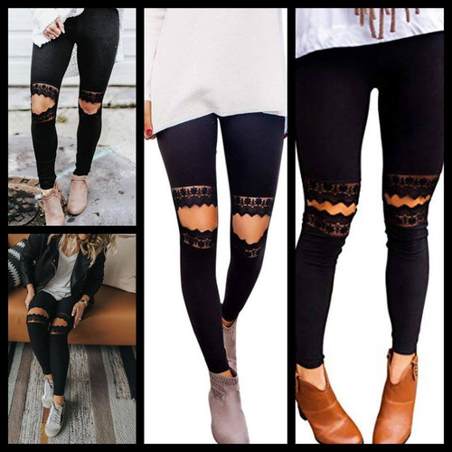 AR Black lace cutout leggings