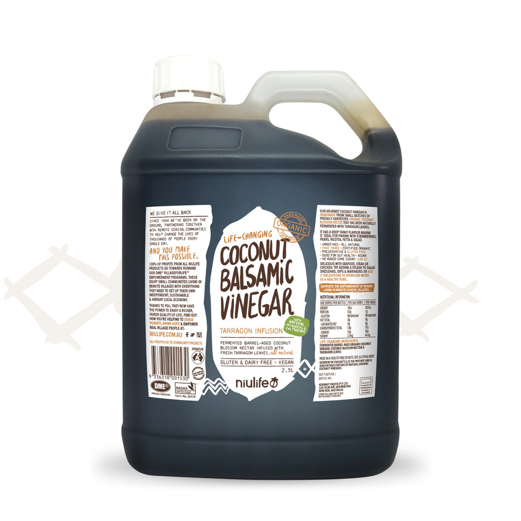 Handmade Coconut Balsamic Vinegar - Certified Organic 2.5L Jerry Can