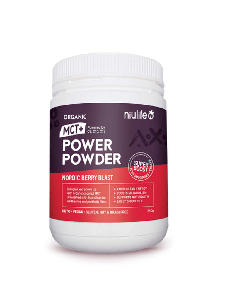 MCT+ Power Powder - Nordic Berry Blast 350g - Certified Organic