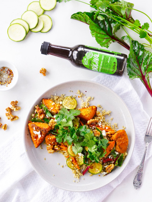 Spiced Quinoa with Roast Veggies & Maple Walnuts