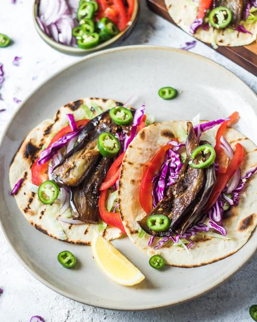 Smokey Braised Eggplant Tacos