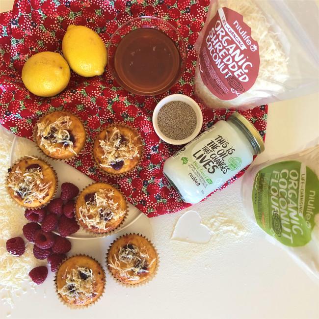 Coconutty Lemon, Honey & Raspberry Muffins