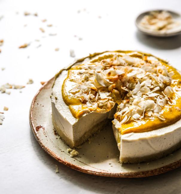 Creamy Vegan Mango Coconut Cheesecake