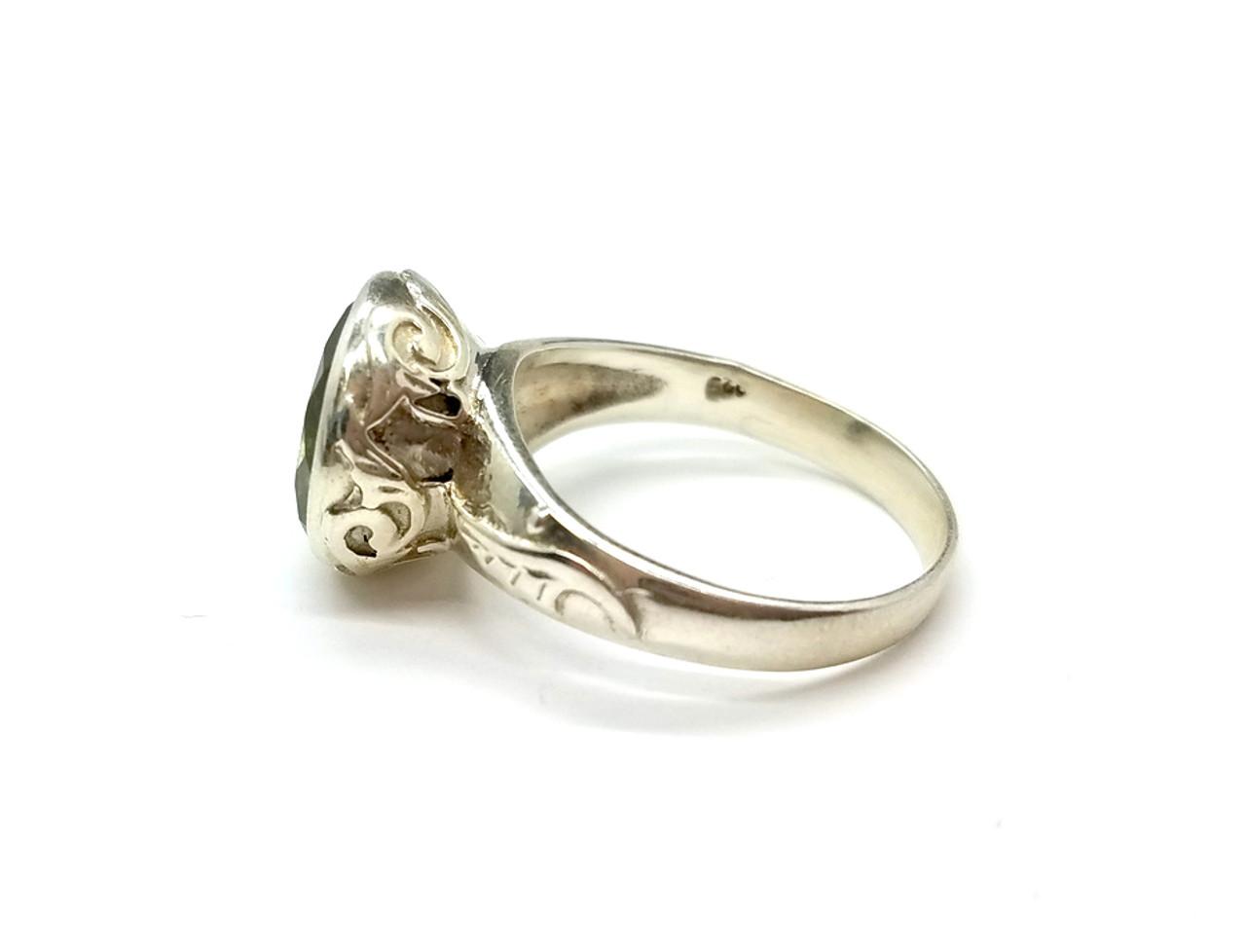 Green Amethyst Sterling Silver Ring