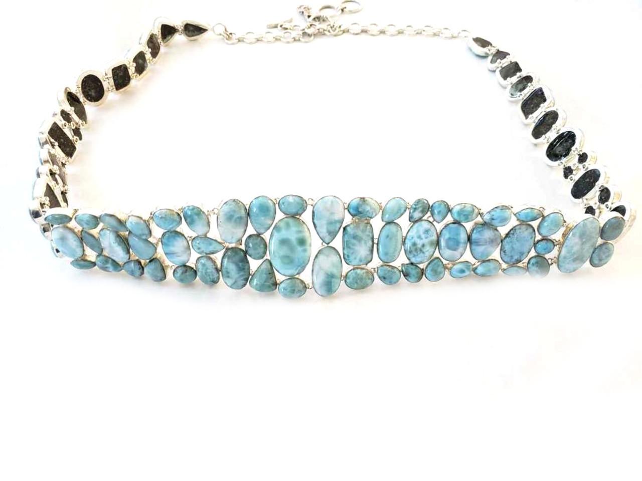 Luxury Larimar Sterling Silver Gem Belt
