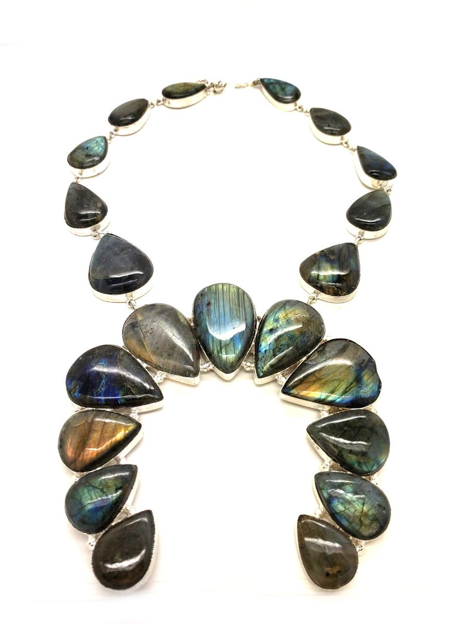 Labradorite's Majestic Shimmer Rainbow Necklace