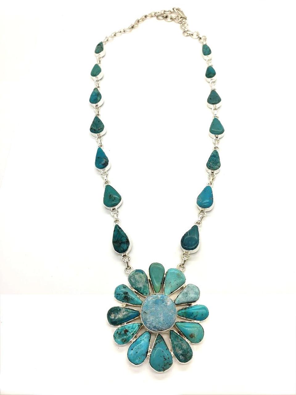 Turquoise Petal Gathering Necklace