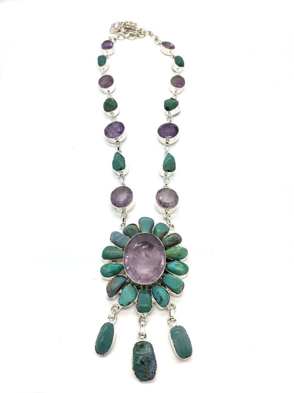 The Celebration! Turquoise and Amethyst Necklace