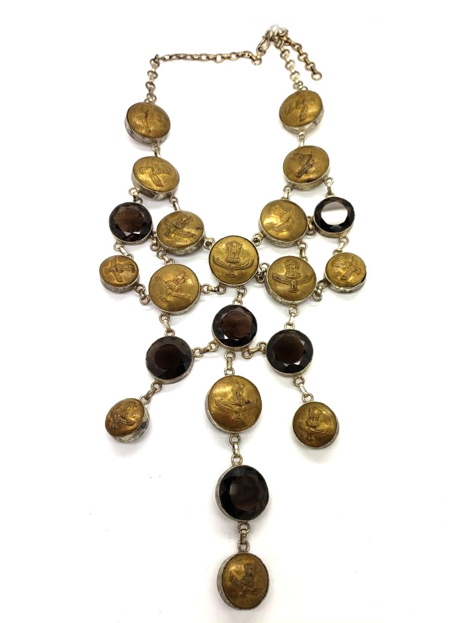 Antique Buttons & Smokey Quartz Necklace