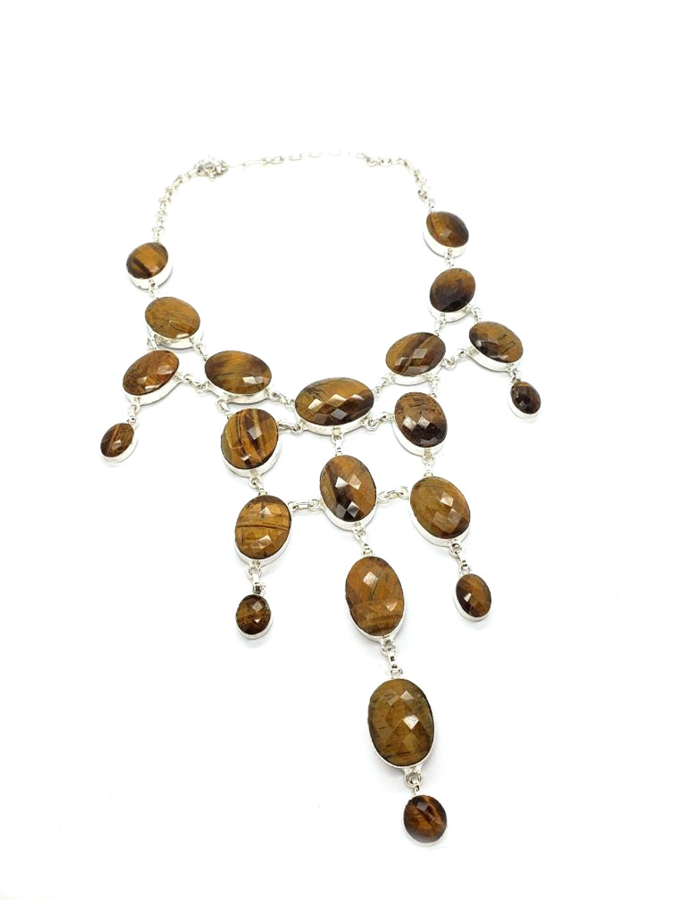 Faceted Tigers Eye Cascade Necklace