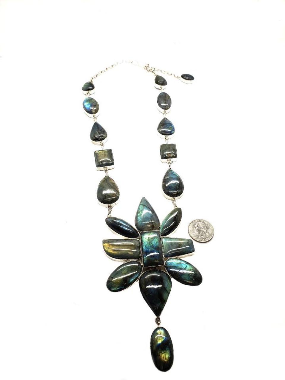 Labradorite Meadow Flower Necklace
