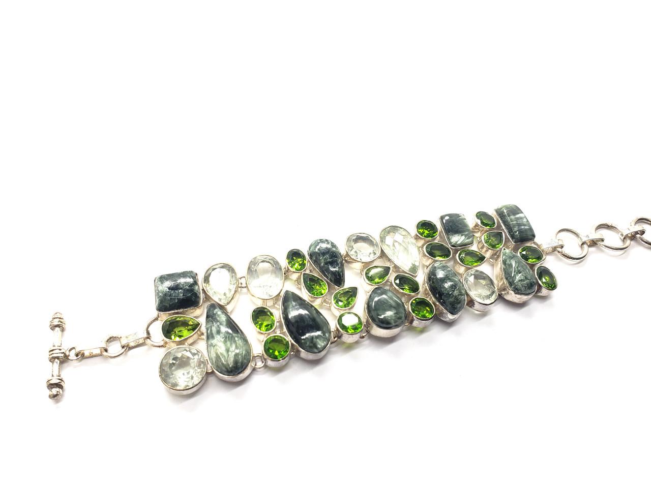 Seraphinite, Peridot and Clear Quartz Conductive Silver Bracelet
