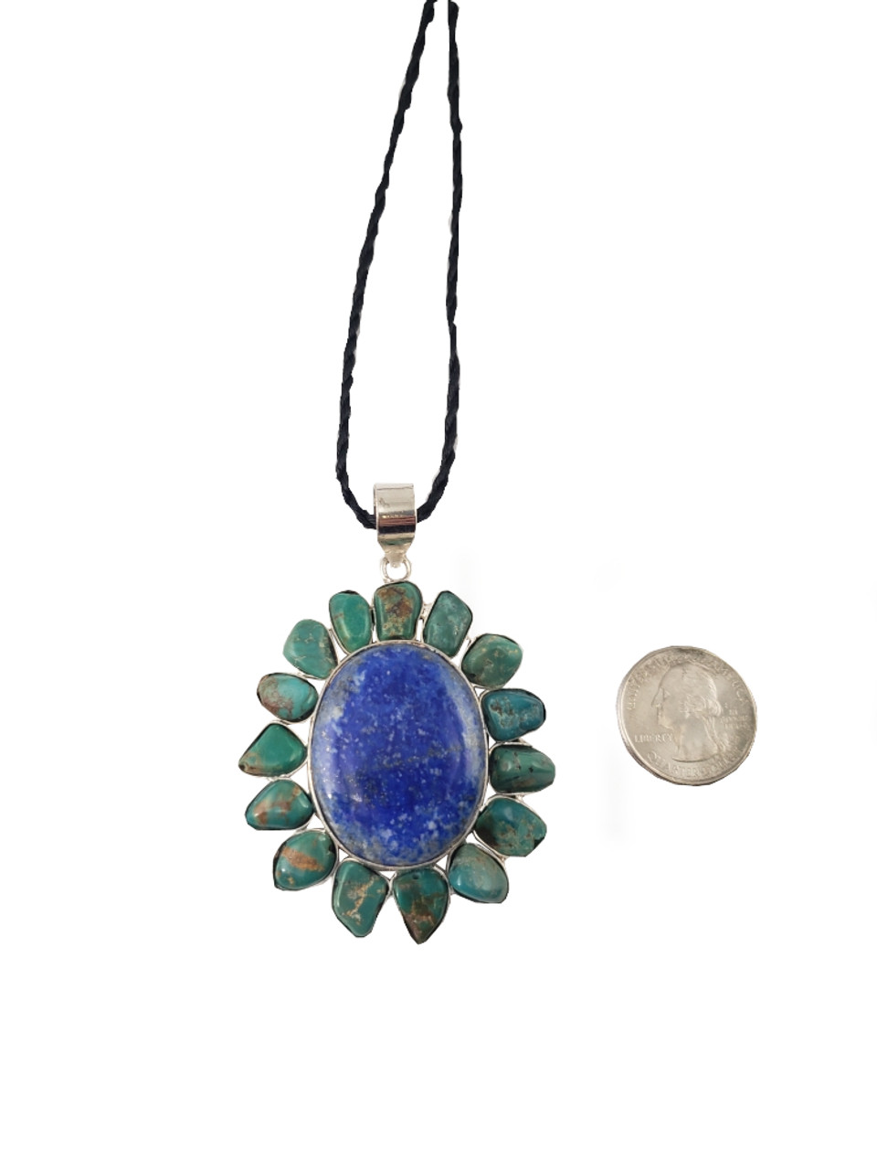 Lapis Surrounded By Turquoise  Petals Pendant