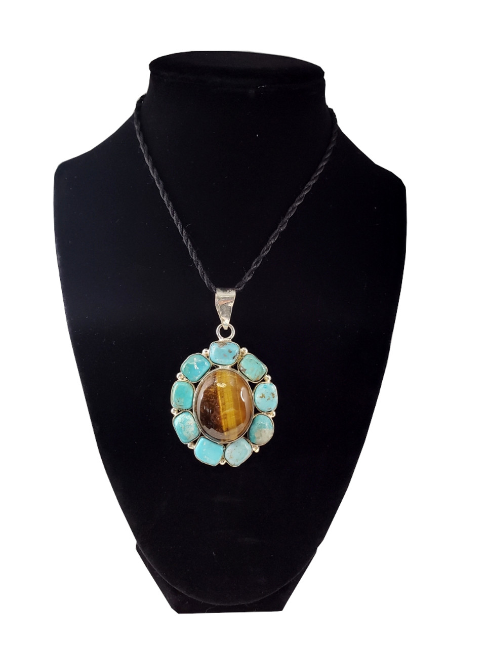 Jungle Time Tigers Eye And Turquoise Pendant