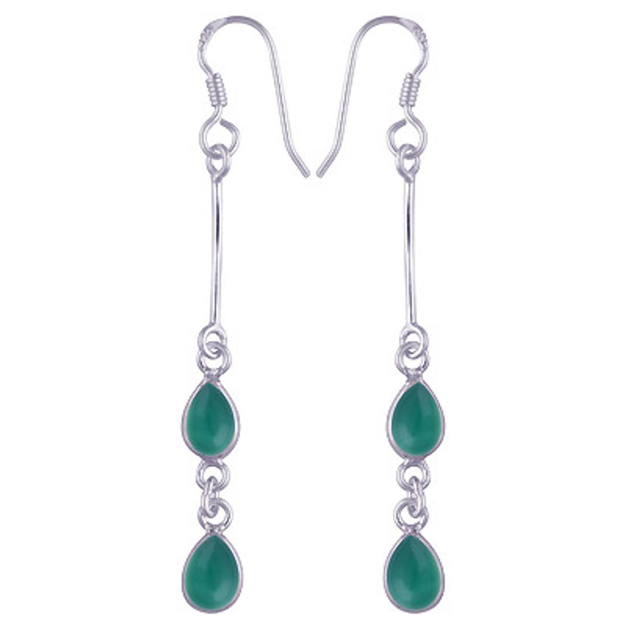 Gemstone Droplets Dangle Earrings