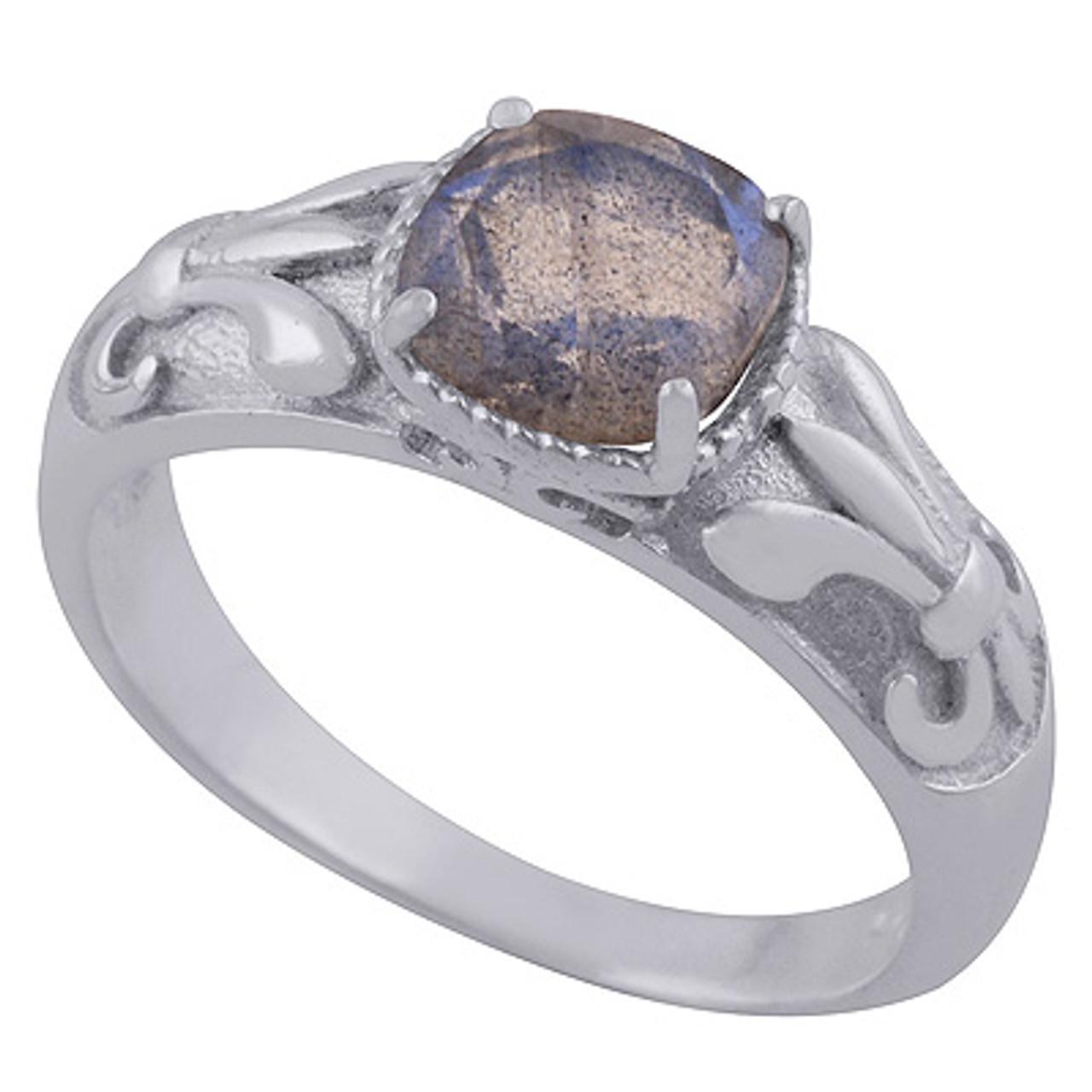 Petite Blue Fire Labradorite Ring