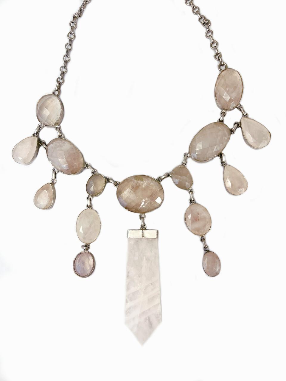 Faceted Rose Chandelier Necklace