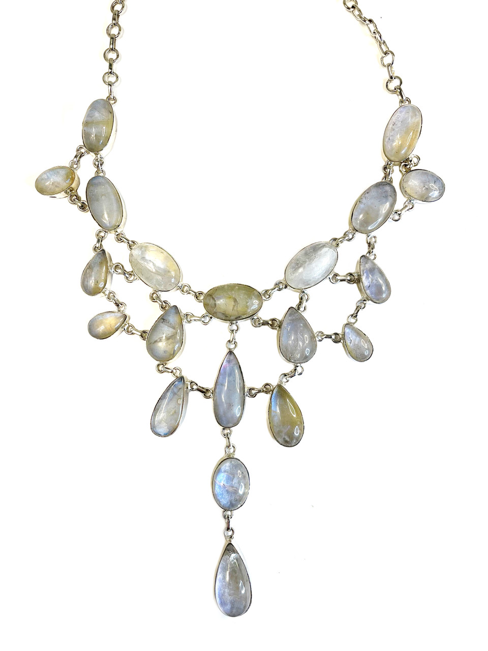 Elegant Moonstone Droplets Necklace