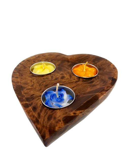 Mango Wood Heart Candle Holder