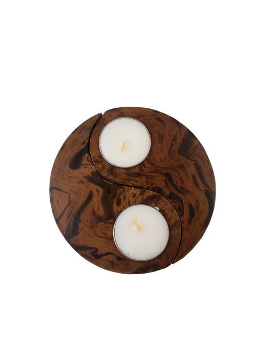 Mango Wood Yin Yang Candle Set