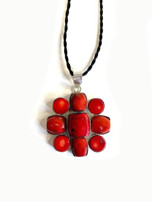 Red Coral Daisy Pendant