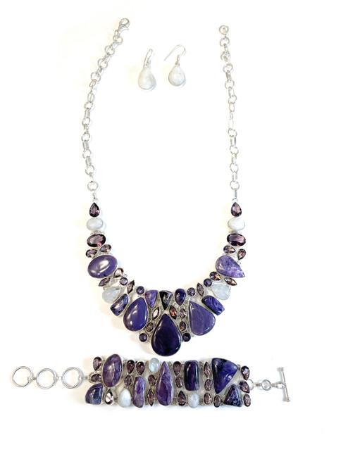 Charoite, Amethyst & Moonstone Necklace, Bracelet & Earring Set
