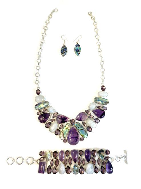 Abalone, Moonstone & Amethyst Necklace, Bracelet & Earrings Set