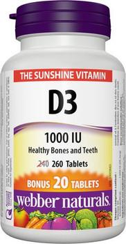 Webber Naturals Vitamin D3 - 1000 IU | BONUS 240+20 Tablets