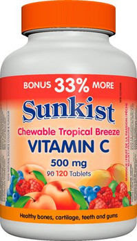 Sunkist Vitamin C Chewable Tablets - Tropical Breeze | 120 Tablets