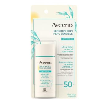Aveeno Sensitive Skin Ultra Light Mineral Sunscreen SPF 50 | 40ml