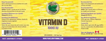 Pure Lab Vitamin D 1000 IU | 360 Vegi-Caps