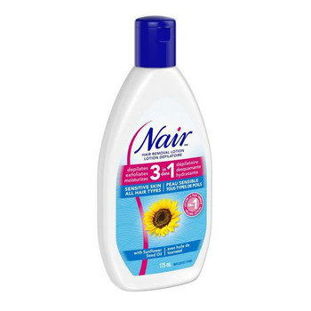 Nair Hair Removal Lotion 3 in 1 for Sensitive Skin with Sunflower Seed Oil | 175ml