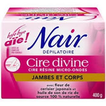 Nair Hair Remover Cire Divine - No Strip Resin Wax - Legs & Body with Rice Oil & Cherry Blossom | 400g