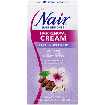 Nair Hair Removal Cream with Sweet Almond & Softening Baby Oil - Face & Upper Lip | 57g