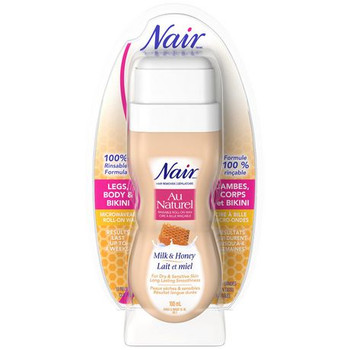 Nair Hair Remover Microwaveable Roll-On Wax for Dry & Sensitive Skin with Milk & Honey - Legs, Body & Bikini | 10 Reusable Cloths Strips