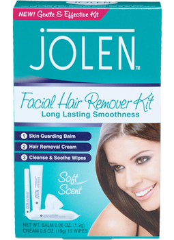 Jolen Facial Hair Remover Kit - Long Lasting Smoothness | 0.06 Oz. Balm, 0.6 Oz Cream & 15 Wipes