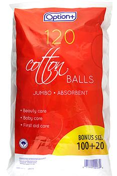 Option+ 120 Jumbo Absorbent Cotton Balls