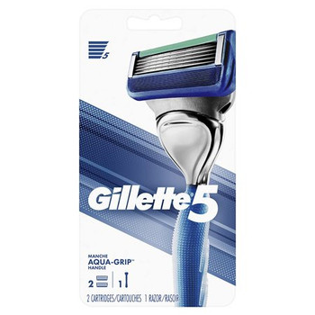 Gillette 5 Razor with Aqua Grip Handle | 2 Cartridges + 1 Razor