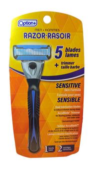 Option+  Razor - 5 Blades - Sensitive Skin Formula    2 Cartridges + 1 Razor