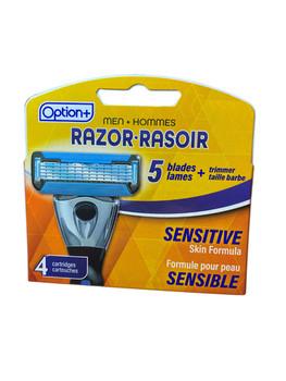 Option+ Men's Razor Blades Refill with Sensitive Skin Formula   4 Cartridges