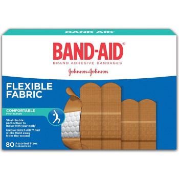 Band-Aid Flexible Fabric Bandages, Assorted Sizes | 80 pack
