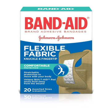 Band-Aid Flexible Fabric Knuckle and Fingertip Bandages, assorted sizes | 20 pack