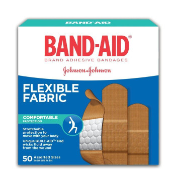 Band-Aid Flexible Fabric Bandages, Assorted Sizes | 50 pk