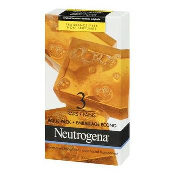 Neutrogena Fragrance Free Original Formula Facial Cleansing Soap Bar | 3 Bars