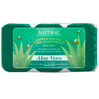 Natural Honey & Glycerin Soap Bar for Sensitive & Delicate Skin with Aloe Vera | 3 Bars