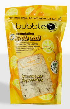 Bubble t Lemongrass & Green Tea Stimulating Bath Salts with Real Tea Leaves | 500 g