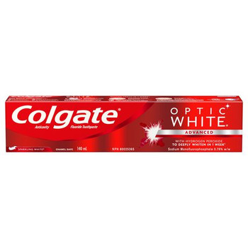 Colgate Optic White Advanced with Hydrogen Peroxide Anti Cavity Fluoride Toothpaste | 140 ml